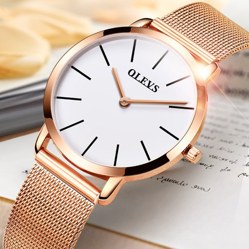 OLEVS women watches Luxury Brand ultra thin watch women Rose gold Milan steel quartz watch leather Casual clock Relogio feminino