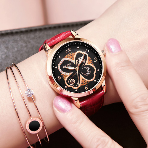 OLEVS Women Watch Elegant Brand Famous Luxury Quartz Rose gold Watches Ladies Leather Butterfly design Wristwatches Relogio 2018