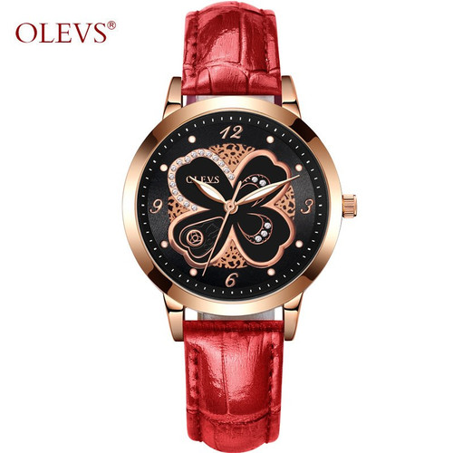 OLEVS Women Watch Elegant Brand Famous Luxury Quartz Rose gold Watches Ladies Leather Butterfly design Wristwatches Relogio 2018