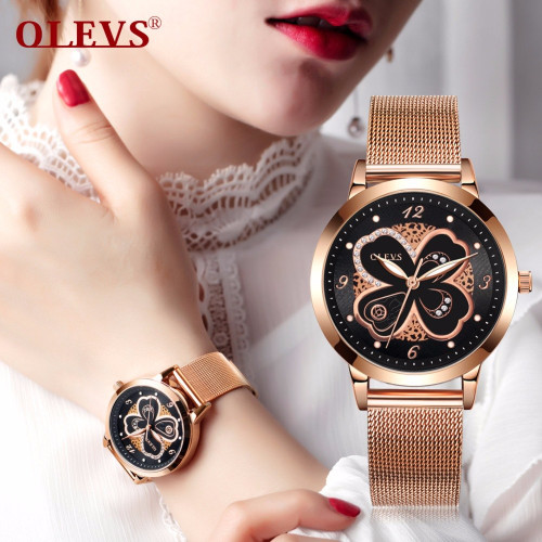 OLEVS Brand Fashion Women watches Rose gold steel Japan quartz movement Luxury higt quality relogio feminino Ladies Wrist watch