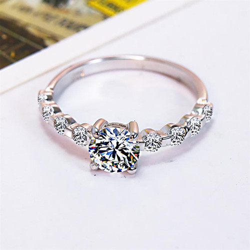 Newest Real Solid 925 Silver Ring Sparkling Luxury Classic 0.9Ct CZ Zircon Wedding Jewelry Rings Engagement for Women Love Gifts