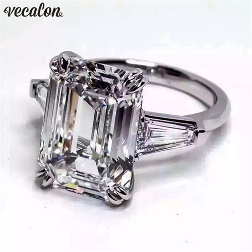 Vecalon Luxury jewelry 100% Real 925 Sterling Silver ring 4ct 5A Zircon Cz Engagement wedding Band rings for women Bridal bijoux