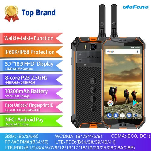 "Ulefone Armor 3T IP68 Waterproof Mobile Phone Android 8.1 5.7"" FHD+ helio P23 Octa Core 4GB 64GB 21MP  Walkie Talkie Smartphone"