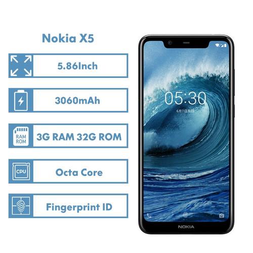 "Nokia X5 Smartphone 3060mAh 3G RAM 32G ROM 3 Camera Dual Sim Cards Fingerprint ID 5.86"" Octa Core LTE 4G Android Mobile Phone"