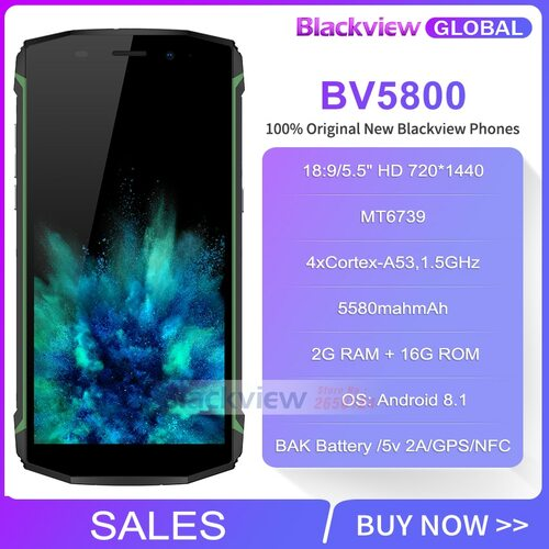 Fast shipping on New Year Blackview Bv5800  IP68 waterproot 5580mAh 4G 18:9 Smartphone 2GB 16GB 13MP NFC Touch ID Mobile phone
