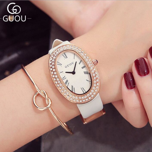 GUOU Top Brand Rhinestone Watch Bling Diamond Watch Women Watches Luxury Women's Watches Oval Clock montre femme reloj mujer