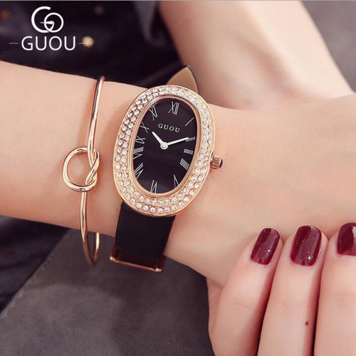 GUOU Top Brand Rhinestone Watch Bling Diamond Watch Women Watches Luxury Women's Watches Oval Clock montre femme reloj mujer