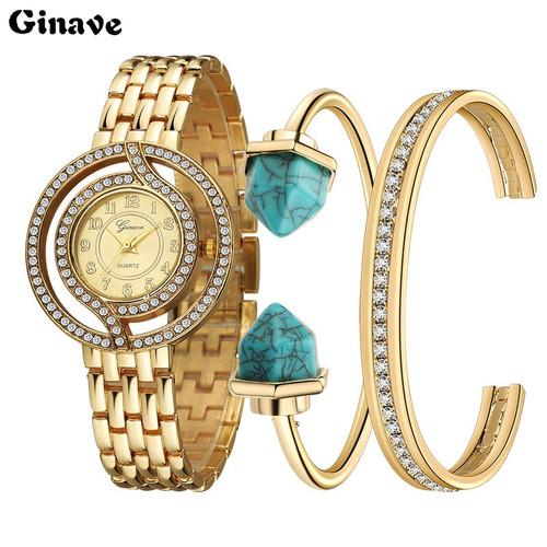Luxury brand set Women Rhinestone Watch Crystal Diamond Watches Female Quartz Wristwatches Lady Dress Watch relogio feminino