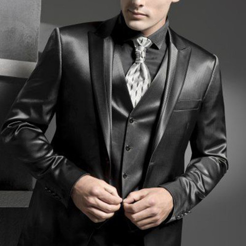 Shiny Charcoal Grey Tuxedo Custom Made Wedding Groom Suit Shiny ,Bespoke Glossy Grey 3-Piece Suit,Terno De Noivo Brilhoso