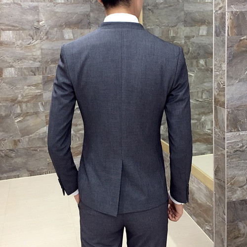 Unique Mens Mandarin Collar Suit Black Chinese Collar Mandarin Style Grey Mens Formal Suits Men Wedding Suit