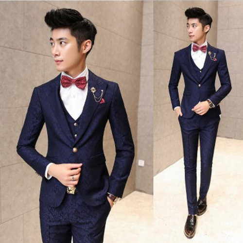 (Jackets+Pants+vest) 2017 Mens Casual Slim Fit Printed flowers single Breasted Suit Male Fashion wedding And Party Blazer Dress