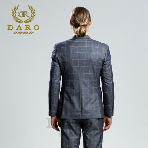 DARO 2018 New Men Suit 3 Pieces Fashion Plaid Suit  Slim Fit  blue grey wine  Wedding Dress  Suits Blazer Pant and Vest DRV-8038