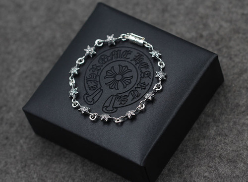 S925 sterling silver bracelet personalized fashion classic jewelry retro six-star couples punk hip-hop style hot models gift