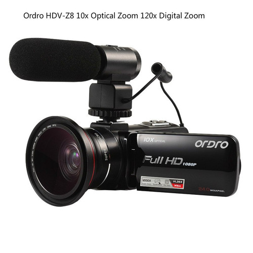 "ORDRO HDV-Z82 Video Camera 3.0"" TFT LCD Touch Screen  Videocameras Digital Zoom 10X Optical HD Camcorder Camera 24MP HDMI O"