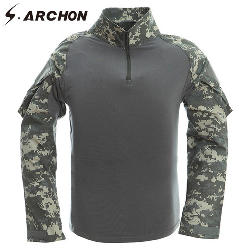 S.ARCHON Tactical Military Army Shirt Men Long Sleeve Shirts Multicam Uniform Frog Suit T Shirts 12 Camouflage Colors Clothing