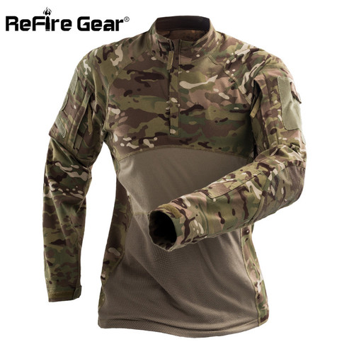 ReFire Gear Tactical Army Combat Shirt Men Long Sleeve Camouflage Military T Shirt Rip-Stop Multicam Paintball Uniform Clothing
