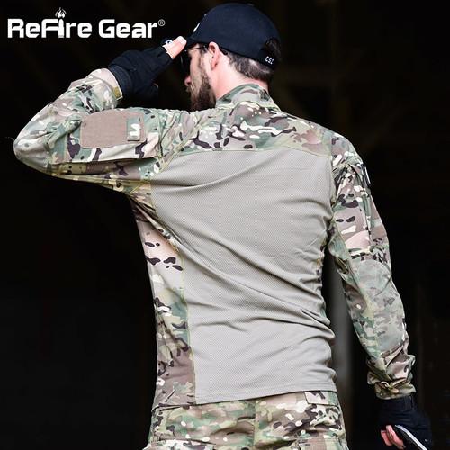 ReFire Gear Men Tactical Combat Shirt Military Camouflage Long Sleeve T Shirt 100% Cotton Multicam Militar Uniform Army Clothing