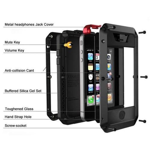 Luxury Shockproof Doom Armor Waterproof Metal Aluminum Phone Cases For iphone X 8 7 6 6s Plus 5s SE Case Cover Screen Glass Film
