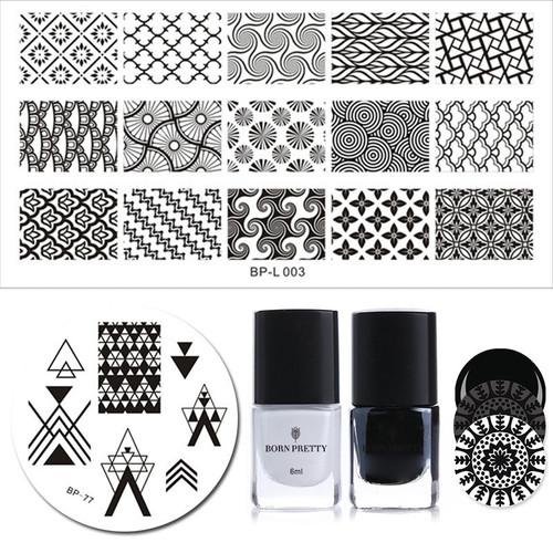 BORN PRETTY 4Pcs Stamping Polish Plate Set 6ml Black White Polish French Cloud Net Template for Nail Decoration