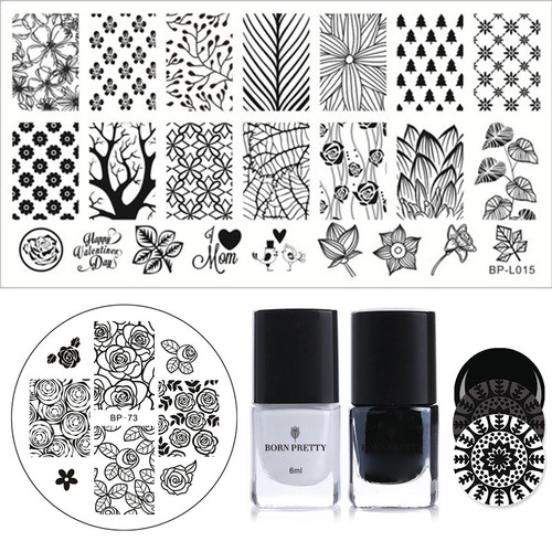 BORN PRETTY 4Pcs Stamping Polish Plate Set 6ml Black White Polish French Cloud Net Template for Nail Decoration