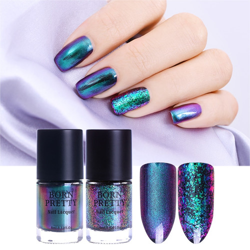 BORN PRETTY 9ml Chameleon Nail Polish Romantic Heart Fiery Love Sequins Nail Lacquer Varnish 16 Colors