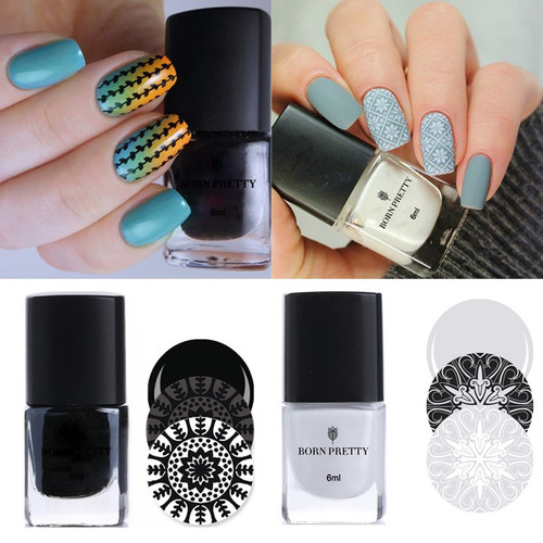 BORN PRETTY 4PCS Nail Art Stamping Polish Set 6ML Black White Gold Silver Nail Plate Printing Lacquer Nail Art Decor Varnish