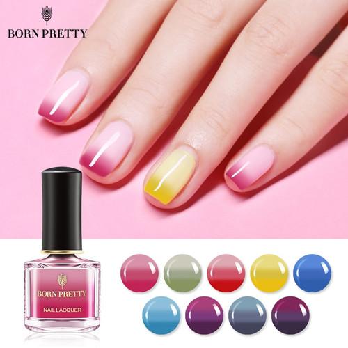 BORN PRETTY 3 Colors Thermal Nail Polish 6ml Temperature Color Changing Nail Art Polish Long Lasting Varnish Manicure