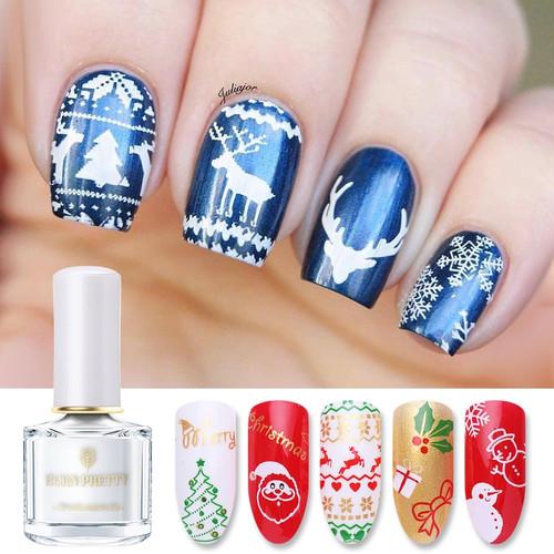 BORN PRETTY Christmas Nail Stamping Polish Pure Color Nail Art Image Print Polish Varnish Manicure 6ml DIY Stamping Polish