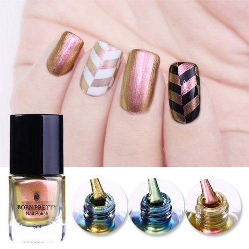 BORN PRETTY Rose Gold Chameleon Stamping Polish Colorful Nail Art Plate Printing Nail Lacquer 6ml