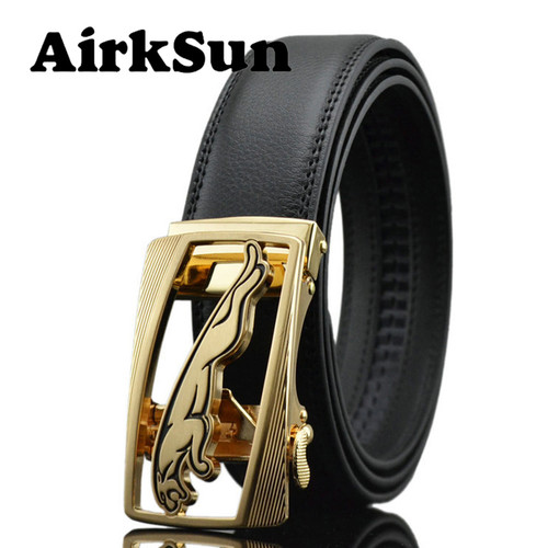 AirkSun 2017 Casual 140cm Big Size Black Mens Jaguar buckle Belts For Luxury Strap male Genuine Leather Belt Men ceinture homme