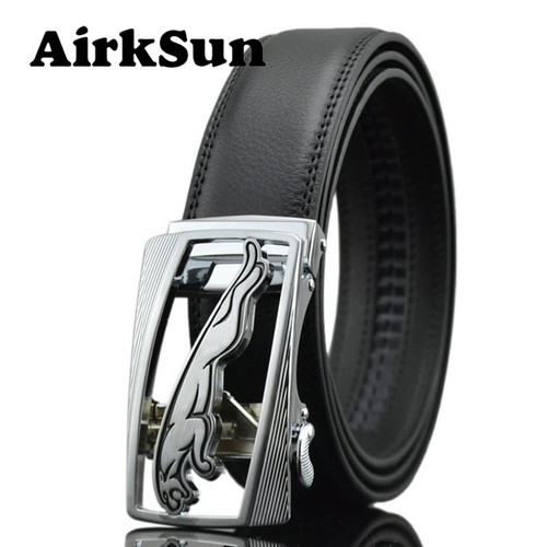 AirkSun 2017 Casual 140cm Big Size Black Mens Jaguar buckle Belts For Luxury Strap male Genuine Leather Belt Men ceinture homme