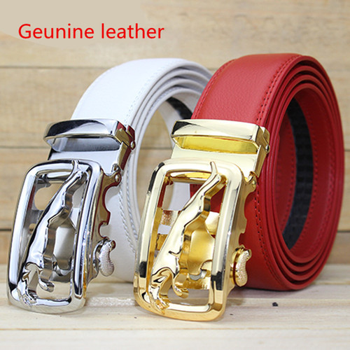 LGFD1673 men  siver gold Jaguar buckle red white color genuine cowhide leather calf skin leather belt