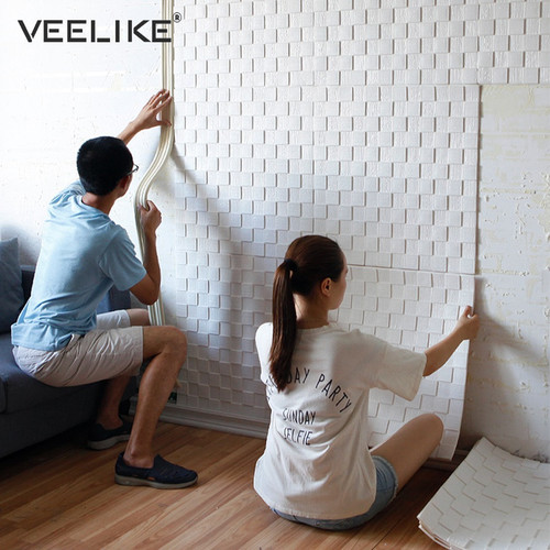 4PCS PE Foam 3D Wall Stickers Safety Home Decor Wallpaper DIY Wall Decor Mosaic Panels Living Room Bedroom Decorative Wall Paper