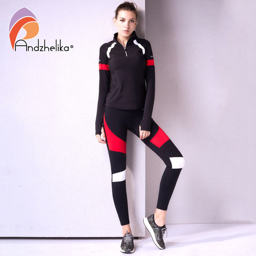 Andhelika 2018 Fitness Women Running Leggings Sports Black and Red Elastic Pants for Yoga Gym Running Tights Workout Yoga Pants