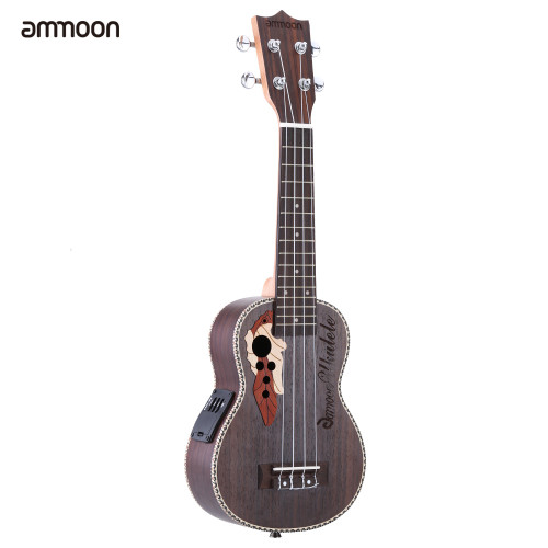 "ammoon Ukulele 21"" Acoustic Ukelele  Spruce Ukulele  4 Strings Guitar Guitarra with Built-in EQ Pickup Christmas Gift"