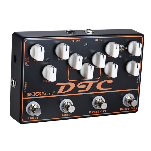 MOSKY DTC 4-in-1 Electric Guitar Effects Pedal Distortion + Overdrive + Loop + Delay
