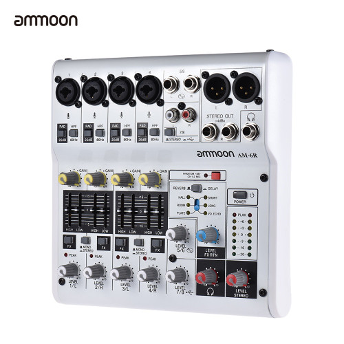 ammoon AM-4R Mixer Console 6-Channel Audio Mixing Console Sound Card Digital Mixing Console Built-in 48V Phantom Power