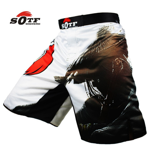 SOTF Men's China Wind Swordsman Ink and Wash breathable boxing sports flat pants Tiger Muay Thai mma shorts short boxeo cheap