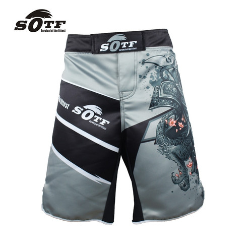SOTF men's Japanese warrior gray sports fitness angle pants Tiger Muay Thai boxing shorts mma short kickboxing boxeo pretorian