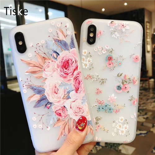 Flower Silicon Phone Case For iPhone X 7 8 6 Plus Rose Floral Leaves Cases For iPhone X 8 7 6 6S Plus 5 5S SE New Soft TPU Cover