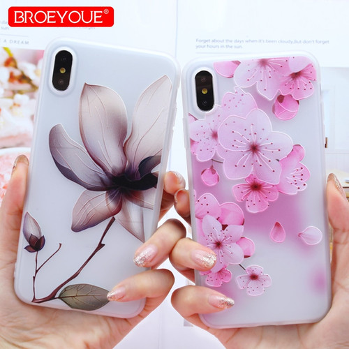 Case For iPhone 7 Case XR XS Max Case For iPhone 8 7 Plus X 5 SE 5S 6 6S Plus Cases Floral 3D Relief Silicone Soft Flowers Capa