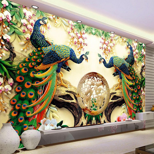 Photo Wallpaper European Style Peacock Flowers 3D Mural Living Room Backdrop Wall Classic Interior Decor Wallpaper 3D Panel Wall