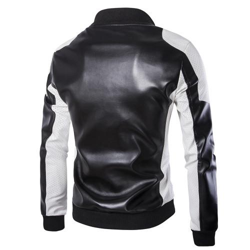 2019 Man's Stand Collar Patchwork jackets new mans echte leather blazer jacket classic business slim fit jacket plus size M-5XL