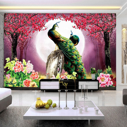 Custom 3D Photo Wallpaper Peacock Moon Flowers Living Room Sofa TV Background Home Decoration Wall Art Mural Painting Wall Paper