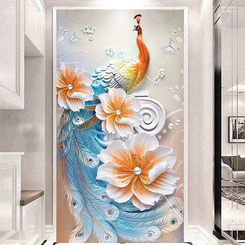 Customize Any Size Mural 3D Wallpaper Embossed Modern Minimalistic Peacock Entrance Corridor Wall Mural Photo Papel De Parede