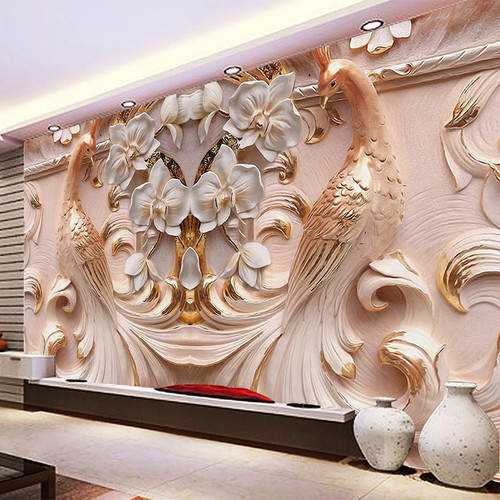 3D Peacock Flowers Mural Photo Wallpaper Living Room TV Sofa Study Backdrop Art Wall Paper For Walls 3D Home Decor