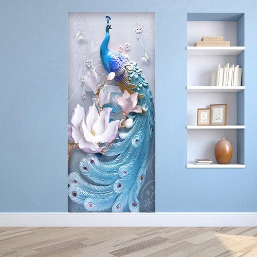 PVC Self-Adhesive Waterproof Door Sticker 3D Embossed Blue Peacock Photo Wall Mural Living Room Bedroom Home Decor Wallpaper 3 D