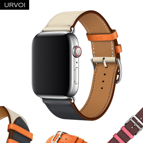 URVOI Single Tour band for apple watch series 4 3/2/1 Swift Leather strap for iWatch wrist classic design Handmade 2018 new