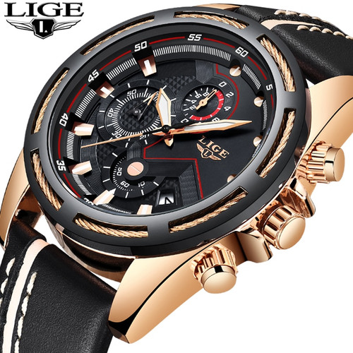 LIGE Watch Men Fashion Sport Quartz Clock Leather Mens Watches Top Brand Luxury Gold Waterproof Business Watch Relogio Masculino