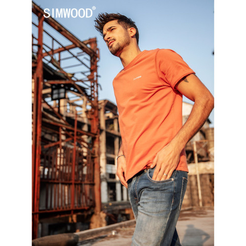 SIMWOOD New 2019 Summer T-Shirt Men 100% Cotton Embroidered Casual t shirt Basics O-neck High Quality Plus Size Male Tee 190107